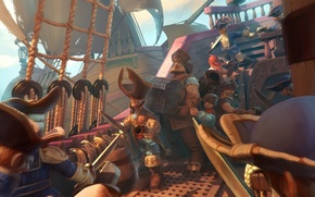 Обои пираты, корабль, арт, ship, art, сундук, море, паруса, мушкеты, на абордаж, пушки, сабли, fantasy, sea, ...