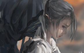 Картинка девушка, аниме, арт, капюшон, профиль, бинты, мертвец, wlop