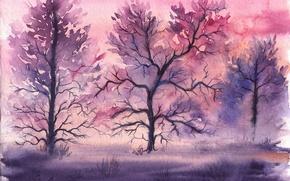 Картинка трава, деревья, акварель, нарисованный пейзаж
