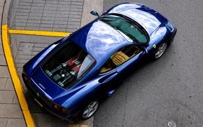 Картинка дорога, синий, сверху, Ferrari, феррари, 360, road, blue, модена, modena