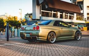Картинка Nissan, GT-R, gold, skyline, R34