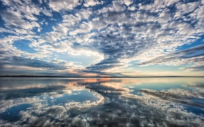 Картинка отражение, утро, morning, Texas, reflection, clouds in the mirror, облака в зеркале, Виноградная лоза озера, …