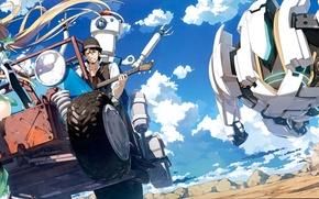 Картинка машина, небо, облака, улыбка, робот, погоня, аниме, арт, парень, kantoku, angela balzac. девушка, expelled from …