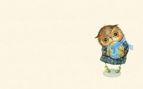 Картинка настроение, сова, арт, земной шар, забота, детская, совушка, Inga Paltser, Ингa Пальцер