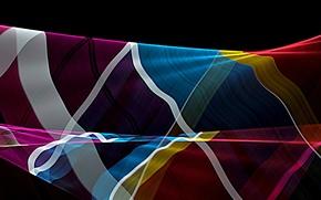 Картинка лучи, линии, цвет, изгиб, объем