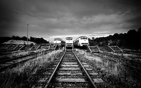 Картинка рельсы, чёрно-белое, поезда, Ж/д пути