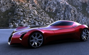 Обои bugatti, aerolithe, концепт, красный , горы