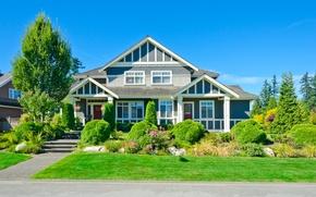 Обои дизайн, трава, небо, солнце, голубое, дом, газон, особняк, кусты, деревья, дорога, тротуар