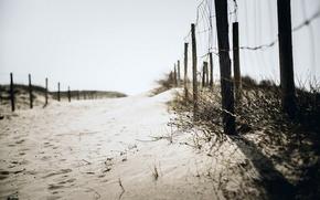 Картинка песок, пляж, фон, забор