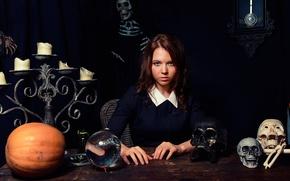 Картинка шар, свечи, скелет, черепа, гадалка, Fortune Teller