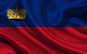 Картинка Красный, Синий, Флаг, Герб, Текстура, Flag, Корона, Liechtenstein, Лихтенштейн, Княжество Лихтенштейн