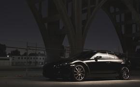 Картинка Мост, Ночь, Улица, Мазда, Чёрный, Mazda, Black, RX-8, RX8