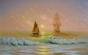 Картинка море, солнце, рассвет, волна, корабль, красота, картина, лодки, парус, крым, живопись, Милюков Александр