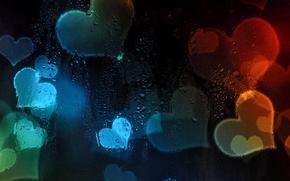 Картинка свет, абстракция, сердце, влюбленные, сердечко, валентин, стекло капли