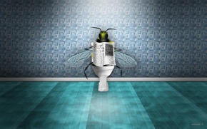 Картинка пчела, газета, туалет, новости