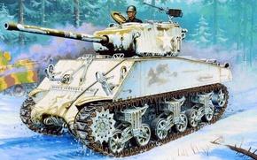 Картинка зима, война, рисунок, арт, Sherman, 76-мм, M4A3