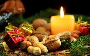Картинка украшения, пламя, фокус, свечи, орехи, хвоя