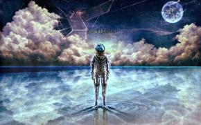 Картинка вода, звезды, облака, космонавт, art, bouno satoshi