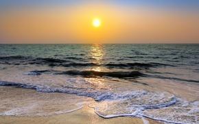 Картинка солнце, океан, берег, утро