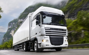Обои daf, xf105.460, truck, white, даф, иксэф105.460