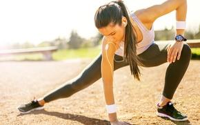 Обои woman, physical activity, sportswear, warm-up, elongation