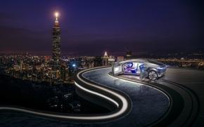 Картинка машина, авто, город, панорама, ночной город