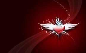Картинка крылья, Сердце, шлейф
