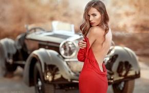 Картинка авто, взгляд, девушка, ретро, спина, платье
