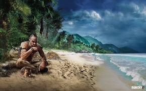 Картинка волны, пляж, небо, пальмы, cry, far, far cry 3
