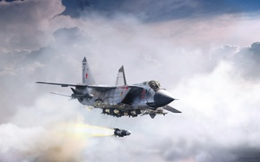 Обои полёт, Александр Ярцев, by ABiator, истребитель, МиГ-31Б, зверь с востока, Beast from east, ракета Р-33, ...