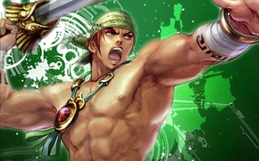 Картинка меч, ярость, амулет, манга, бандана, торс, зеленый фон, мускулы, супер герой, Синбад-мореход