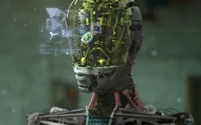Картинка надписи, интерфейс, механизм, робот, голова, арт