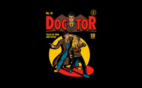 Картинка девушка, рисунок, арт, пародия, мужчина, черный фон, Batman, Doctor Who, комикс, Доктор Кто, Десятый Доктор, …