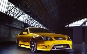 Картинка желтый, автомобиль, передок, 2005, Australia, Typhoon, FPV, Ford Falcon