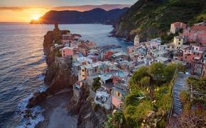 Картинка пейзаж, закат, Италия, Вернацца, Чинкве-Терре, Лигурийское побережье