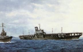 Картинка корабль, арт, авианосец, флот, военный, японский, эсминец, WW2, destroyer, aircraft carrier, IJN, Shinano
