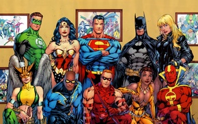 Обои batman, superman, comics, heroes, green lantern, wonder woman, dc universe
