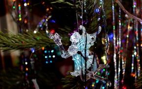 Картинка зима, елка, Новый год, новогодние игрушки