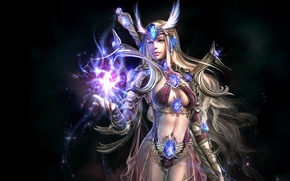 Картинка девушка, магия, волосы, игра, свечение, воин, фэнтези, Soul of the Ultimate Nation