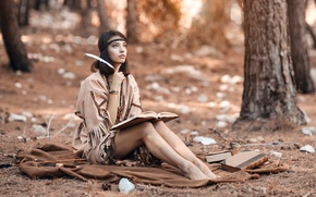 Картинка лес, девушка, перо, книга, Alessandro Di Cicco, Woods Wonder