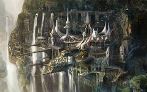 Картинка горы, птицы, город, замок, скалы, высота, арт, водопады