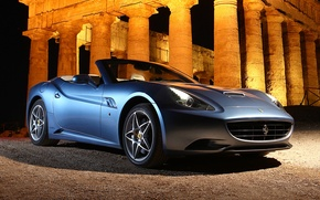 Картинка машина, свет, колонны, Ferrari, ракурс, California