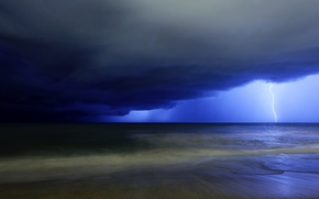Картинка waves, beach, rain, sky, sea, landscape, nature, Storm, lightning, water, clouds, sand, horizon