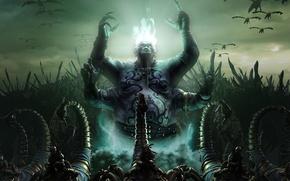 Картинка демон, скорпионы, божество, всадники, огонь