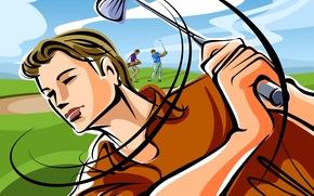 Картинка поле, рисунок, вектор, удар, клюшка, гольф, игроки