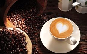 Картинка фон, обои, настроения, сердце, кофе, зерна, wallpaper, love, сердечко, капучино, heart, широкоформатные, background, coffee, полноэкранные, ...