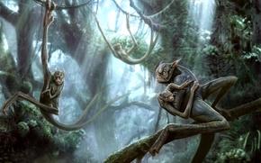 Картинка лес, деревья, фантастика, джунгли, арт, существа, лианы, kenbarthelmey