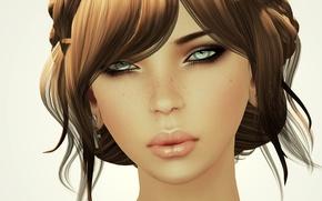 Картинка девушка, фон, прическа, рендер, косы