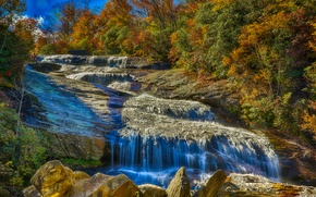 Картинка осень, лес, деревья, горы, река, скалы, водопад, поток