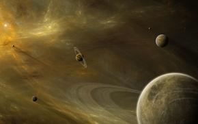 Картинка космос, туманность, планеты, кольца, звёзды